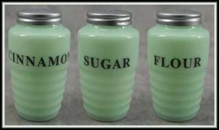 GLASS RIBBED 3 PC SPICE JAR SHAKER SET Cinnamon Flour Sugar