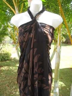 Sarong Black w/ Brown Tahitian Florals Pareo Wrap Dress