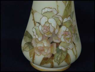 Crown Milano satin Art Glass Mt Washington Vase signed |