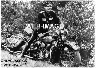 HARLEY DAVIDSON KNUCKLEHEAD MOTORCYCLE  COP  CLUB PHOTO