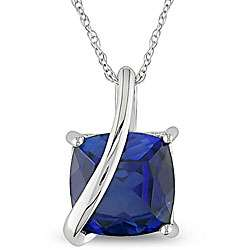 10k Gold Cushion Square Created Blue Sapphire Necklace