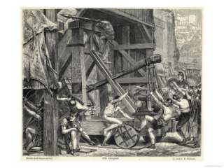 Romans Strenuously Operating a Huge Catapult Giclee Print at