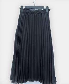Women Ladies Retro Pleated Chiffon Long Lrregular Dress Skirt 5 color
