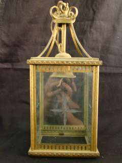 PETITE Antique ETCHED GLASS Old BRASS Hanging CAGE Foyer CHANDELIER