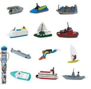 BOAT WATER VINYL 2 MINI FIGURE SHIP SAIL HOT ROD NEW