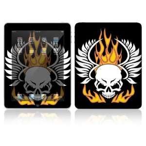 Apple iPad Decal Vinyl Sticker Skin   Flame Skull