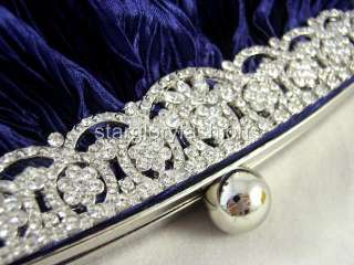 Blue ROYAL CRYSTAL FRAME Wedding Purse Clutch & 4 Colors