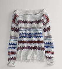 ~ Womens Gray Fair Isle Off Shoulder Sweater XS S M L XL NWT