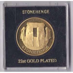Vintage Stonehenge 22ct Gold Plated Token Coin Medal