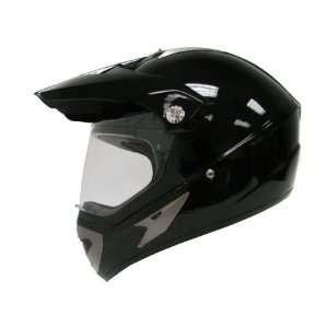 Gloss Black Motocross Motorcycle Utv Dual Sport Hybrid Helmet W/shield