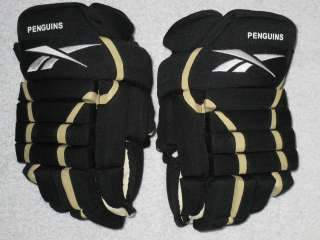 NEW NHL PITTSBURGH PENGUINS REEBOK 4 ROLL GLOVES BLACK & GOLD SIZE 13