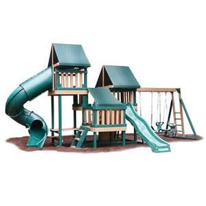 Kidwise Green Monkey Play Set IV Wood Swing Set Outdoor Play