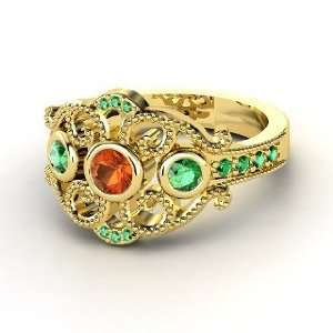 Autumn Palace Ring, Round Fire Opal 14K Yellow Gold Ring