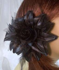 BLACK LILY FLOWER FEATHER HAIR Clip Pin Ponytail