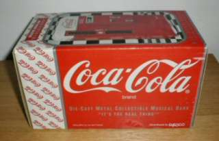 COCA COLA BOTTLE VENDING MACHINE ~ MUSICAL COIN BANK ~ w/BOX ~Coke