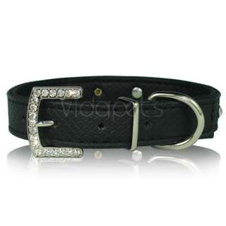 18 22 black Leather Rhinestone Skull Dog Collar large