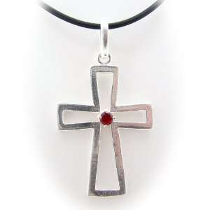 Sterling Silver Cross Red CZ Pendant Rubber Cord Necklace