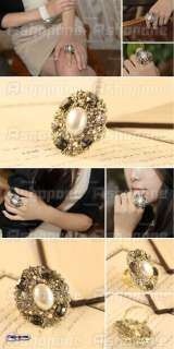 Hot Fashion Pearl Crystal Rhinestone Metal Ring