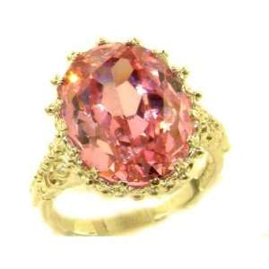 Oval 13ct Synthetic Pink Sapphire Ring   Size 10.5   Finger Sizes 5 to