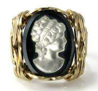 Black Onyx Iris Cameo Ring 14k Rolled Gold