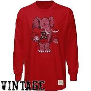 NCAA Original Retro Brand Alabama Crimson Tide Crimson Distressed Crew