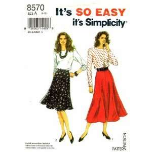 Simplicity 8570 Sewing Pattern Gored Skirt Blouse Size 8