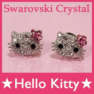 1pair Cute Hello Kitty Bling Swarovski Crystal Earrings Ear Stud