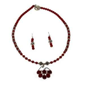 Red Coral Round Bead Necklace with a .925 Silver Pendant Jewelry