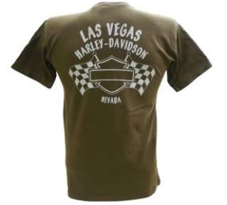 Harley Davidson Las Vegas Dealer Tee T Shirt BROWN MEDIUM #BRAVA1