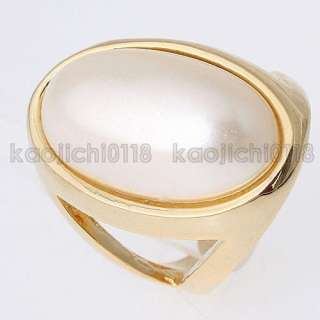 12mm * 22mm Big Pearl Ring 18K Yellow Gold Plated 12369