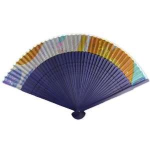 Printed Fabric   Perforated Blue Tint Wood Hand Held Folding Fan