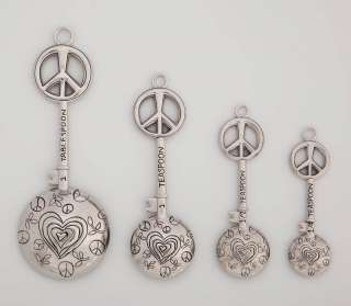 Metal Measuring Spoon Set, Peace Signs,3MSM026