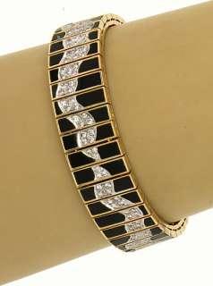 LAVISH 18K GOLD, DIAMONDS & BLACK ONYX LADIES BRACELET