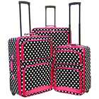 Luxury Divas BLACK WHITE PINK POLKA DOT 3 PIECE UPRIGHT LUGGAGE