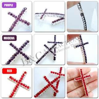 1PCS Curved Side Crystal Rhinestones Cross charms fit Bracelet