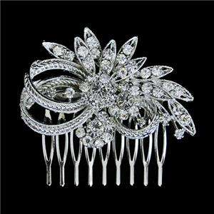Wedding Flower Leaf Hair Comb Tiara Swarovski Crystal