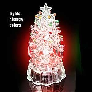 Light Up Glass Christmas Tree