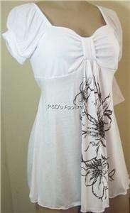 New Womens Maternity S M L XL White Shirt Top Flower Print Blouse
