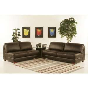 Zen Leather Tufted Seat Sofa and Loveseat Set Furniture & Decor
