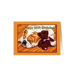 86th Birthday, sleeping Bulldog with teddy bear Card Toys & Games