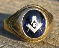 Vintage Mens 10k Yellow Gold Masonic Emblem Ring with Blue Spinel sz