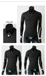 Mens Casual Slim Fit Short Sleeve V Neck Cotton Basic T Shirts Top / 7