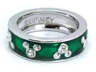 Disney Clear Crystal 6 Mickey Mouse Enamel Green Ring