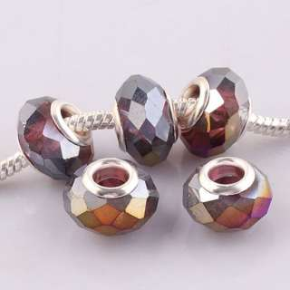 Mixed Lot Wholesale Charms Faceted AB Crystal Glass European Beads Fit