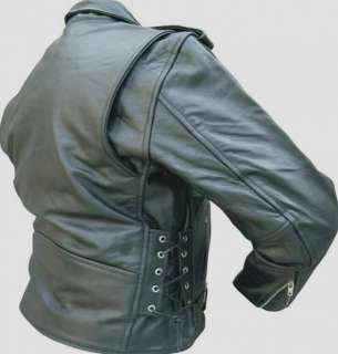 Black BUFFALO HIDE Leather MOTORCYCLE Jacket SIDE LACES 36 66