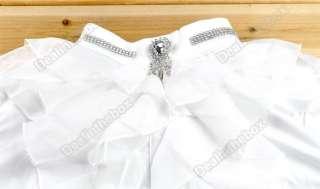 Women Chiffon Frilled High Collar Tops Blouse T shirts Sweet White