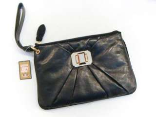 NWT Juicy Couture Black Gold Tab Turn Lock Genuine Leather Clutch