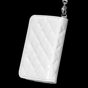 4S Quilted Leather Luxury Wallet Case Pouch Flip Cover Glossy White