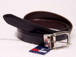 TOMMY HILFIGER Black Brown Reversible Mens Leather Belt 32 34 36 38 40