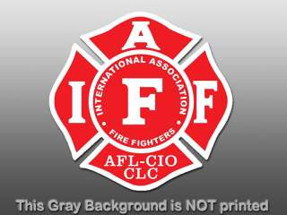 RED IAFF Logo Sticker  decal International firefighters Fire Fighters